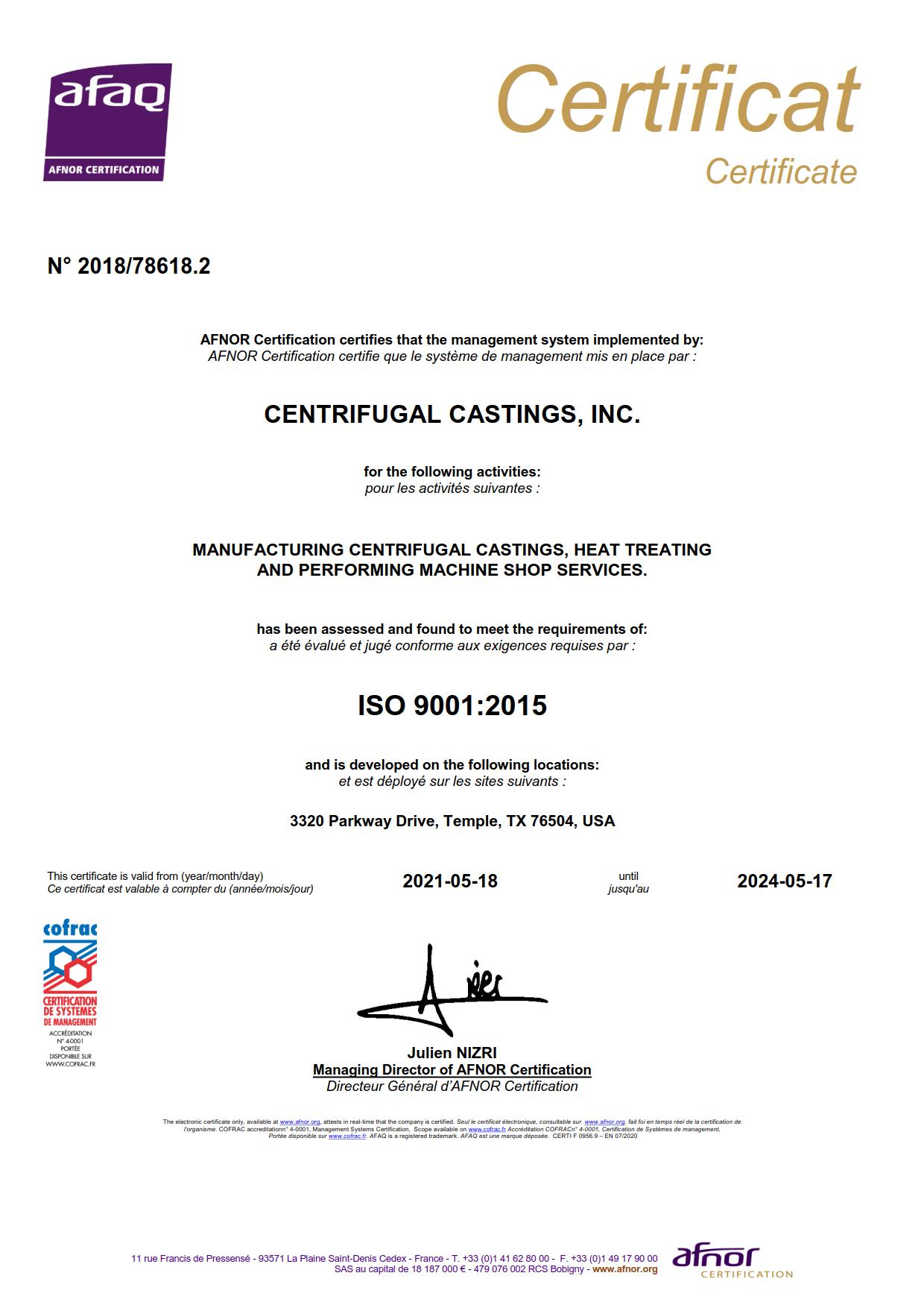 Centrifugal Castings Inc High Quality Centrifugal Casting And